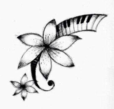 365x350 Nice Flower With Piano Keys Tattoo Design By Candy Marie