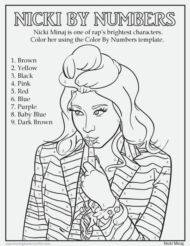 791x1024 Nicki Minaj Color By Number Coloring Page Famous People Coloring