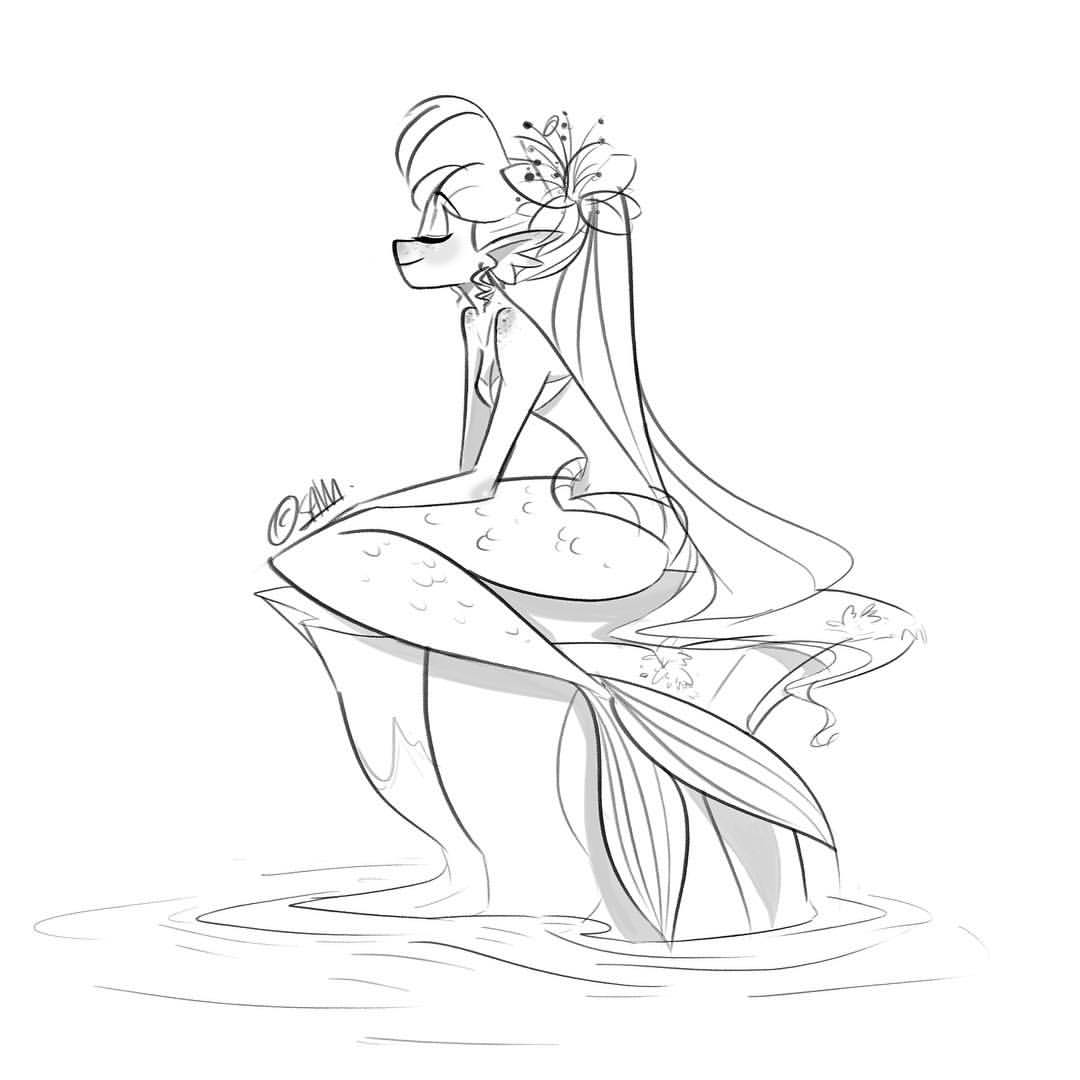 1080x1080 Late Night Mermaid Doodle