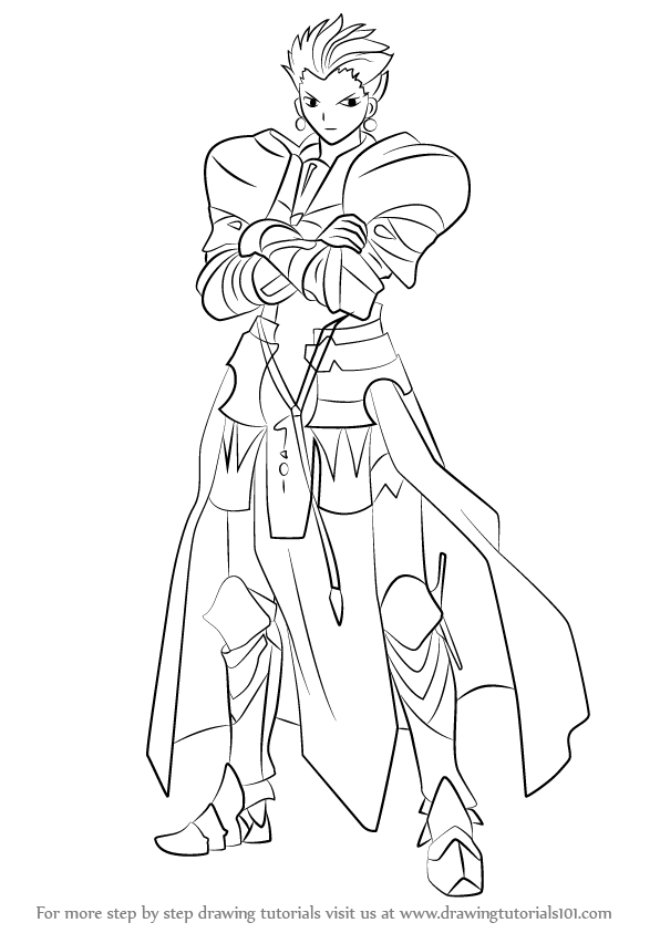 596x843 Learn How To Draw Gilgamesh From Fate Stay Night (Fate Stay Night