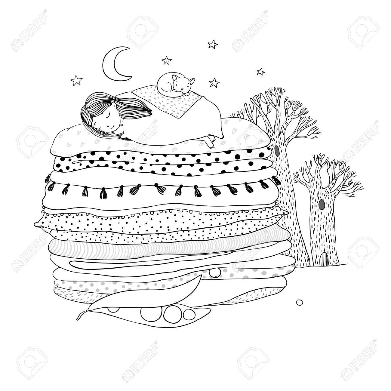 1300x1300 Princess On The Pea. Blankets And Pillows. Hand Drawing Isolated