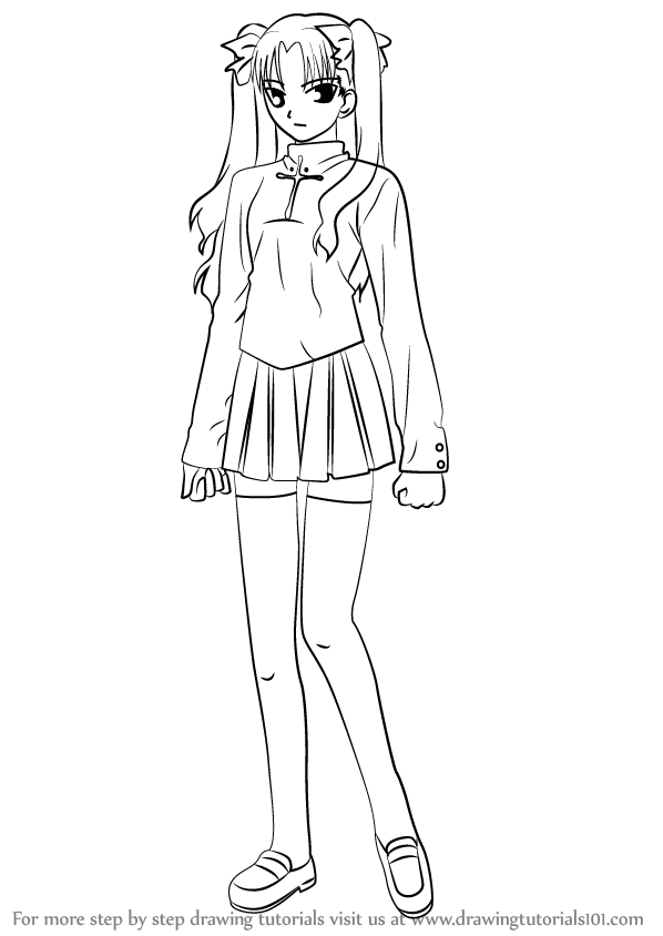598x844 Step By Step How To Draw Rin Tohsaka From Fate Stay Night