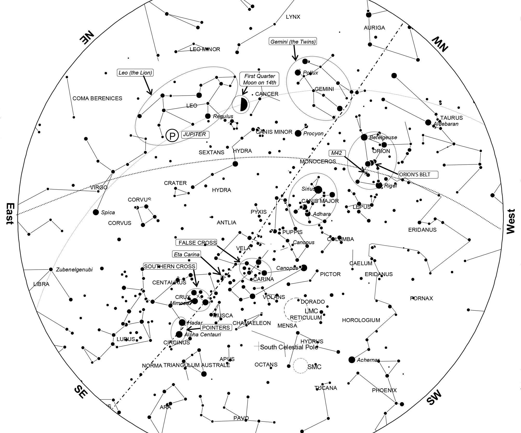 2007x1667 April 2016 Night Sky Guide Transcript And Sky Chart Observations