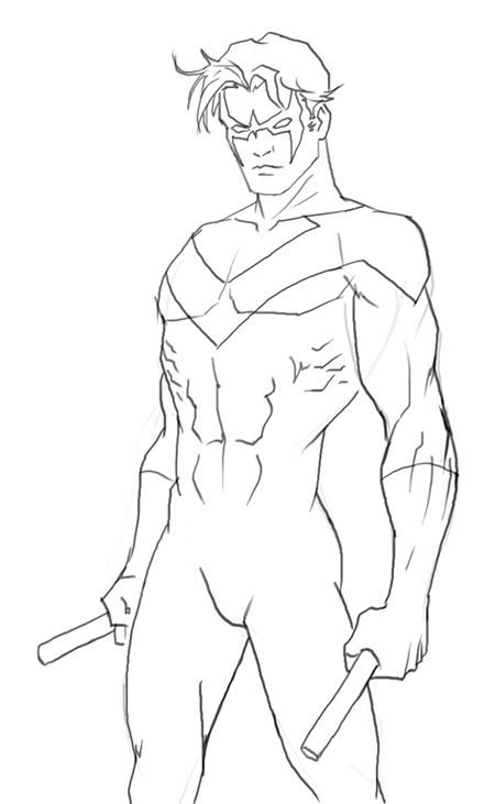 450x731 How To Draw Nightwing