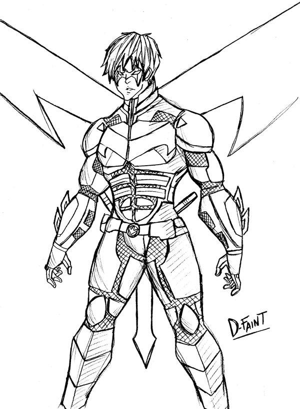 600x817 Nightwing Sketch By Darkestfaint