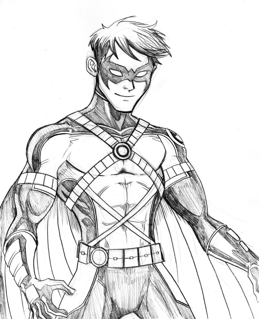900x1107 Nightwing Coloring Pages