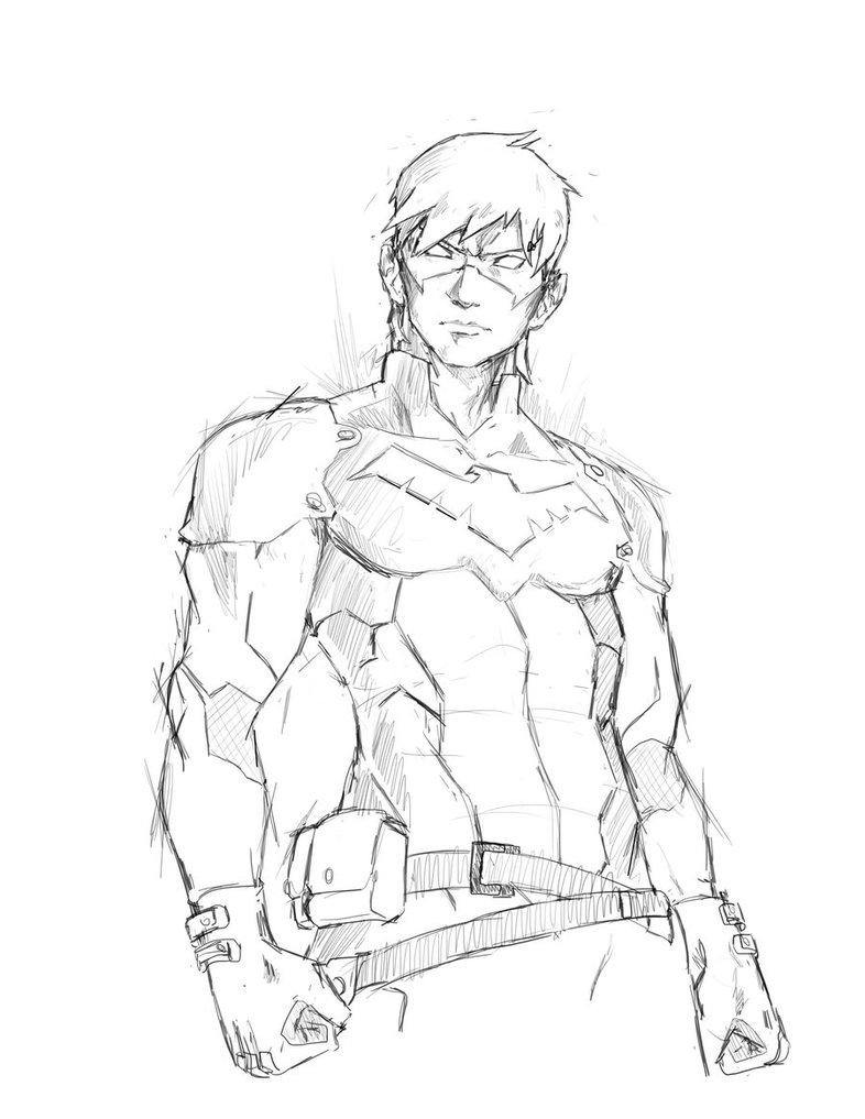 786x1017 Nightwing Sketch By Adambrycethomas