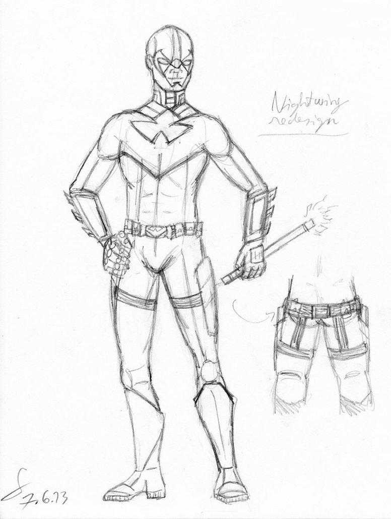 776x1029 Nightwing Suit Redesign Sketch By Shinreddear