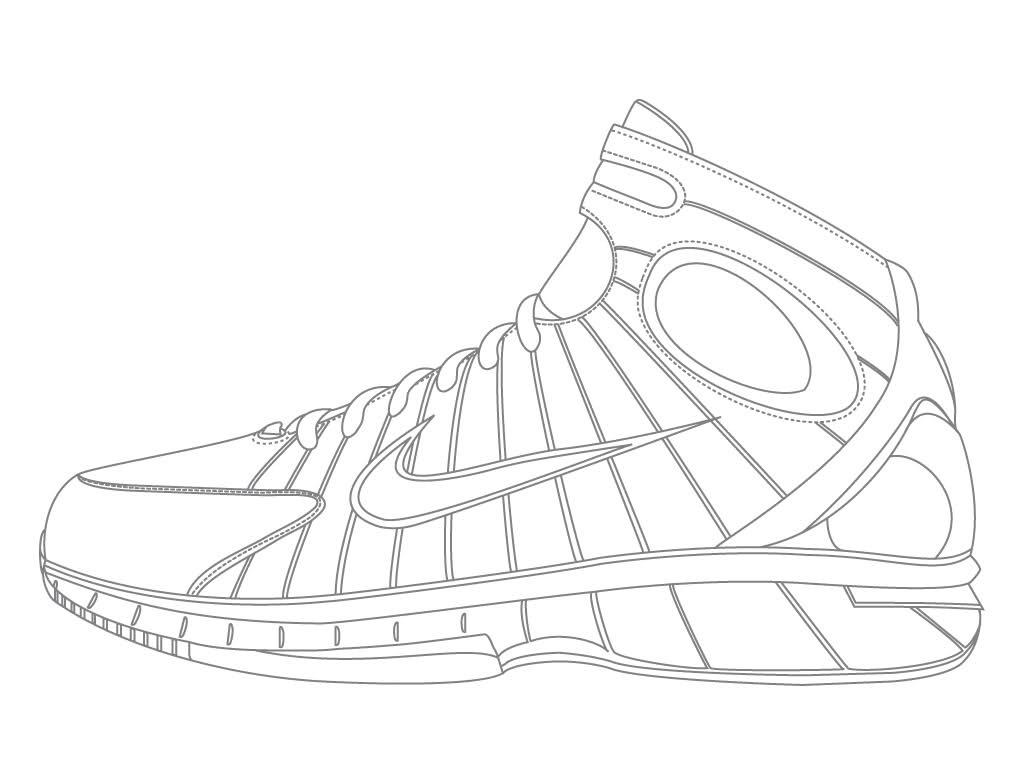 1024x768 Jordan Shoe Coloring Pages