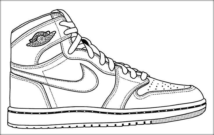 736x466 Nike Shoe Coloring Book Page