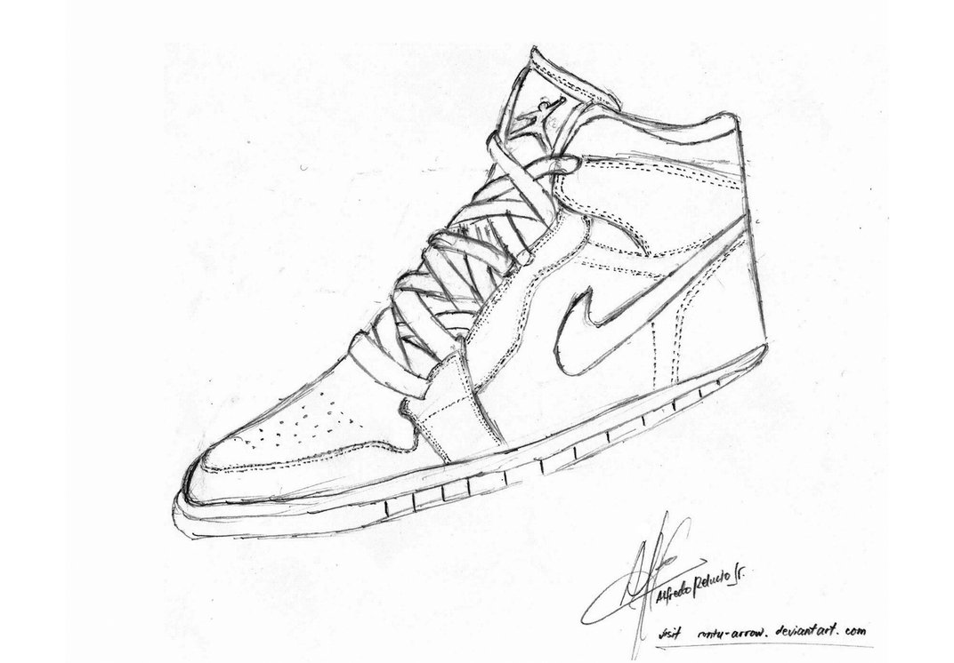 1072x746 Nike Air Jordan Shoe Drawing By Rontu Arrow