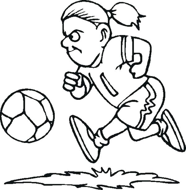 600x613 Nike Soccer Ball Coloring Pages A Female Player Dribbling The Page