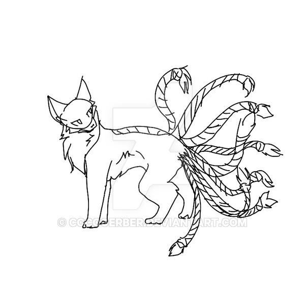 600x577 Cat With Nine Tails Whip Cat Hybrid Sketch By Cocogerber