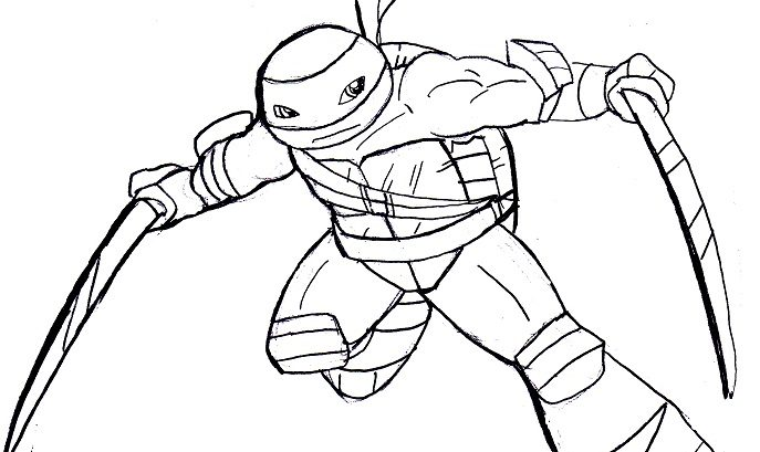 687x409 Leonardo Ninja Turtles Coloring Lesson Pages For Kids
