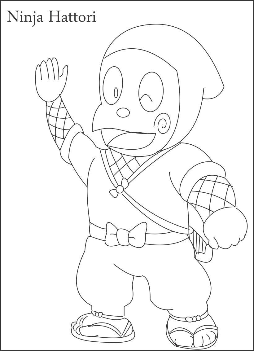 820x1133 Ninja Hattori Coloring Page For Kids