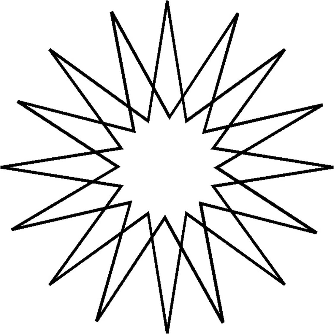 1125x1125 Origami Point Star Full Line Stencil 16 Tattoo