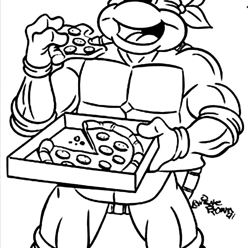 800x800 ninja turtles printable coloring pages eat pizza cartoons