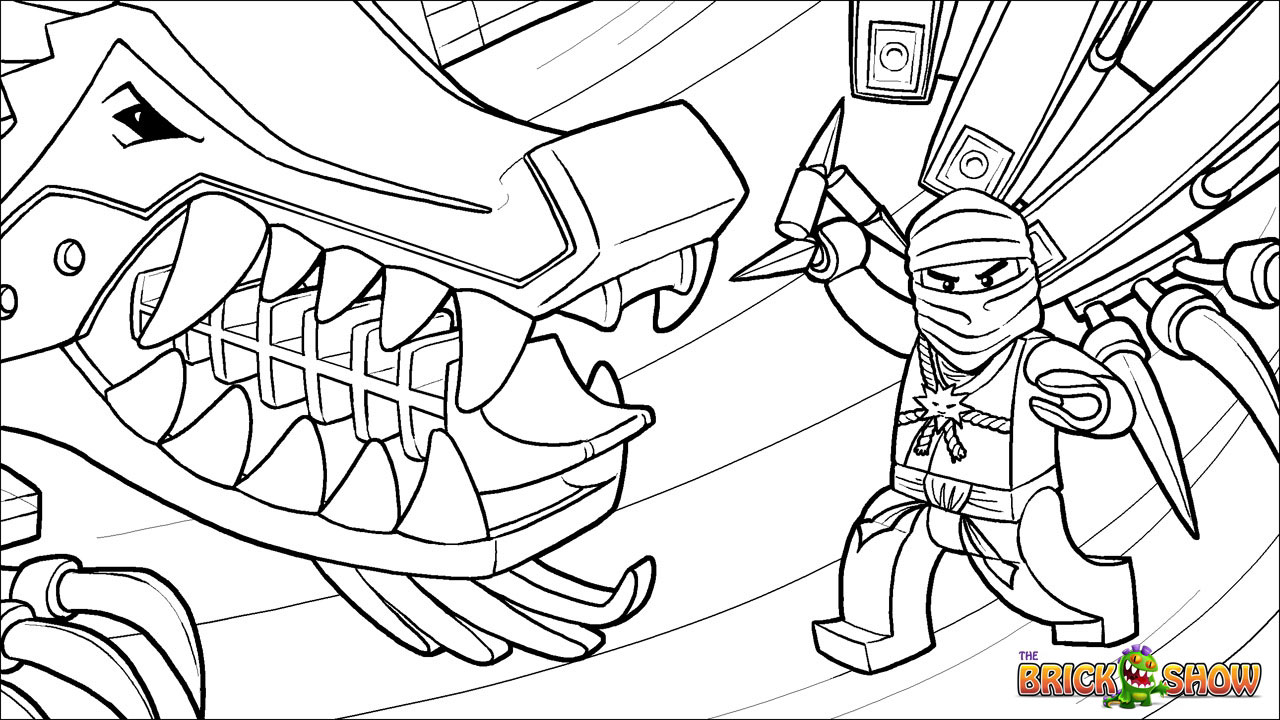 1280x720 LEGO Ninjago Zane And His Ice Dragon Coloring Page Printable