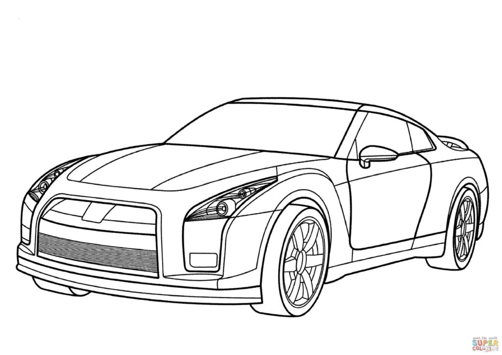 1024x724 Nissan GT R Coloring Page Free Printable Pages Car