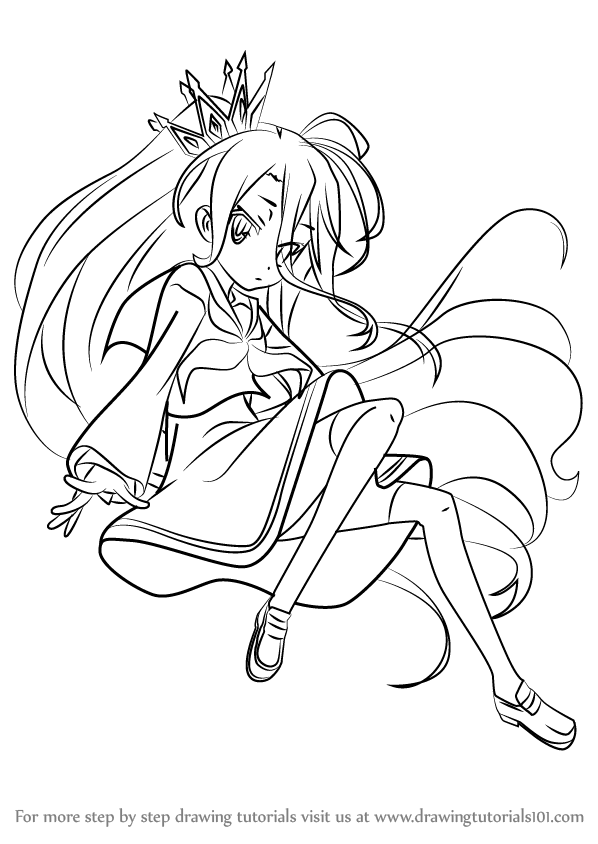 598x844 Learn How To Draw Shiro From No Game No Life (No Game No Life