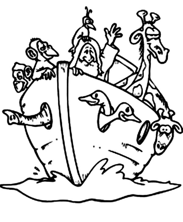 600x726 Noah With The Animals In The Bible Heroes Coloring Page