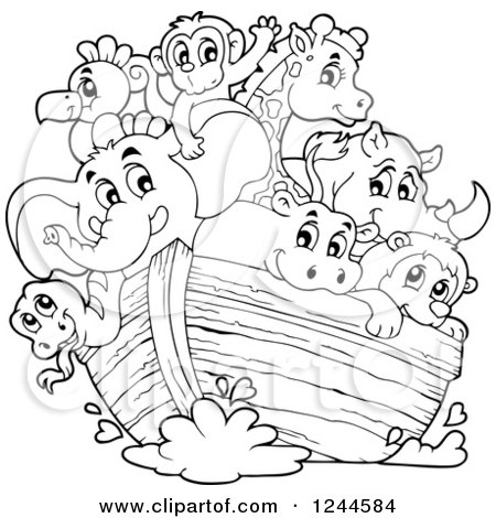 450x470 Clipart Of Black And White Cute Happy Animals On Noahs Ark