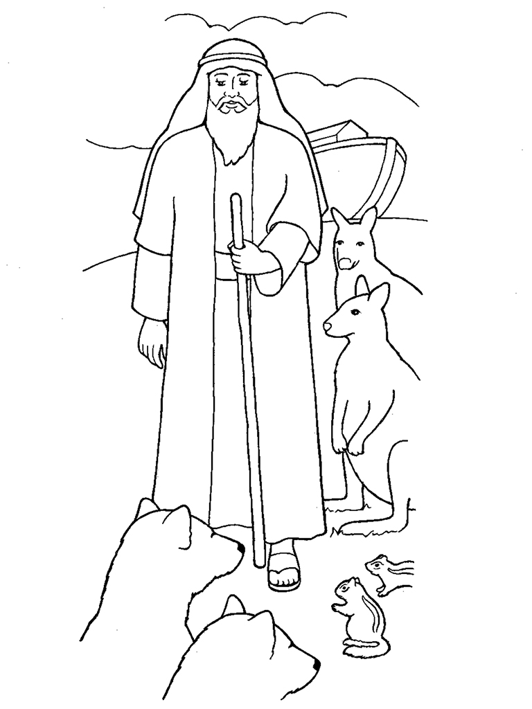 768x1024 Noah With The Ark And Animals