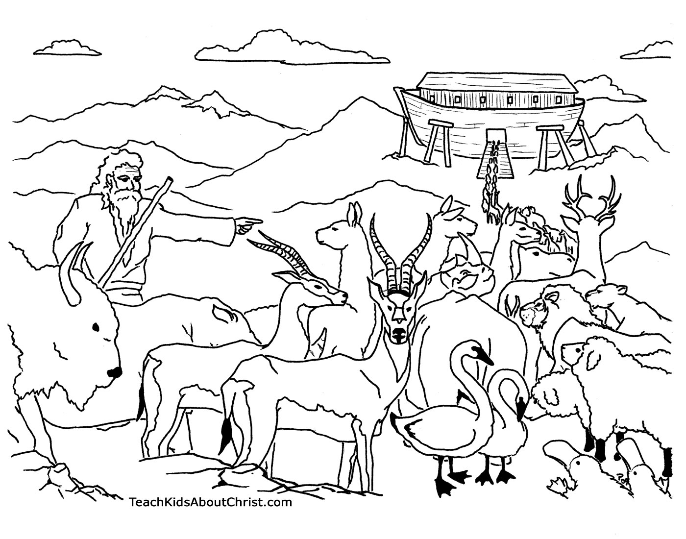 1400x1100 Bible Story Noah And The Ark Coloring Pages Noah's Ark Coloring