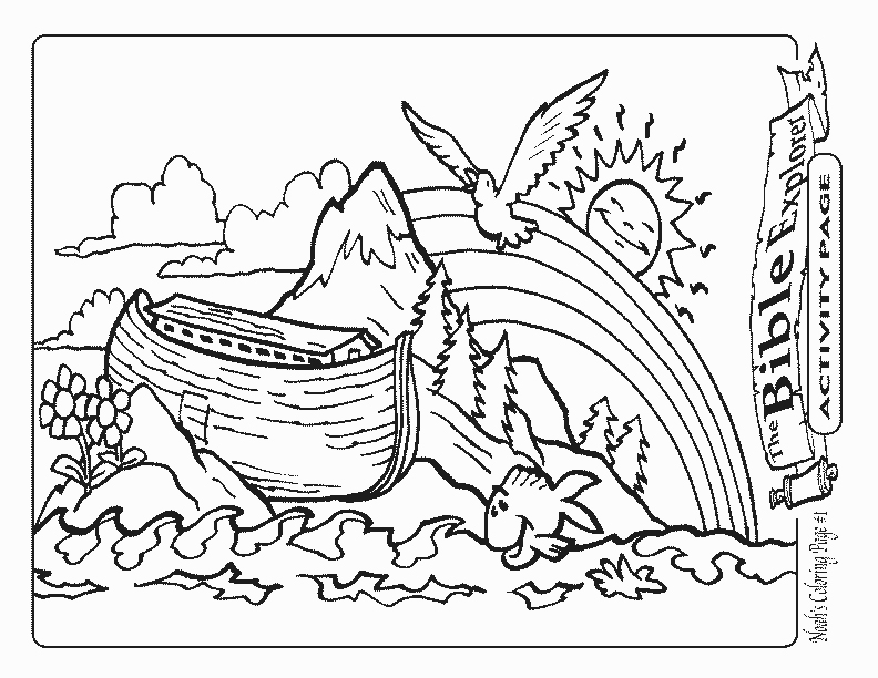 792x612 Coloring Noah's Ark And Rainbow Coloring Page Together With Noah