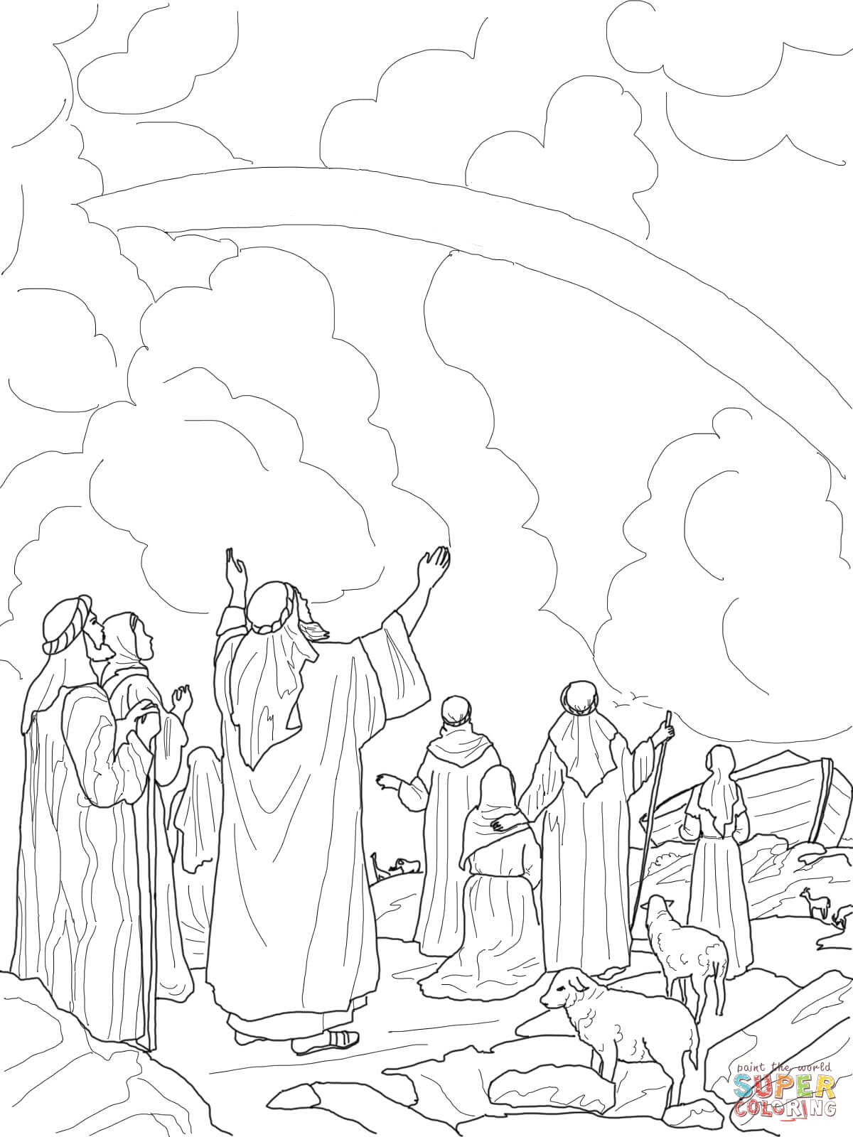 1200x1600 God's Rainbow Covenant With Noah Coloring Page Free Printable
