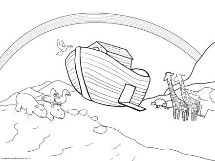 440x330 Noahs Ark Coloring Page With Rainbow Plus Ark Rainbow Coloring