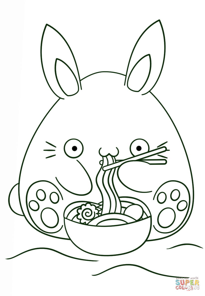 824x1186 Kawaii Bunny Eats Noodle Coloring Page Free Printable Coloring Pages