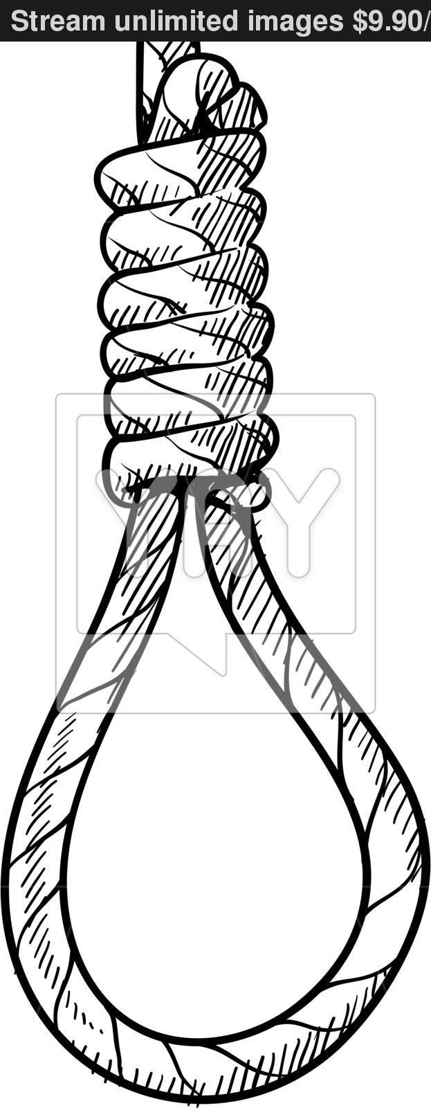 623x1600 Hangman's Noose Sketch Vector