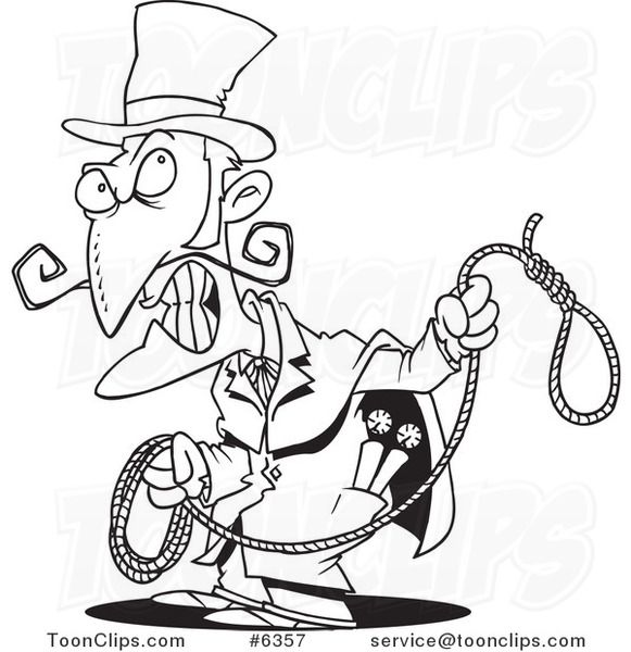581x600 Cartoon Black And White Line Drawing Of An Evil Guy With A Noose