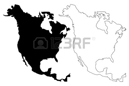 450x300 North America Map Vector Illustration, Scribble Sketch North