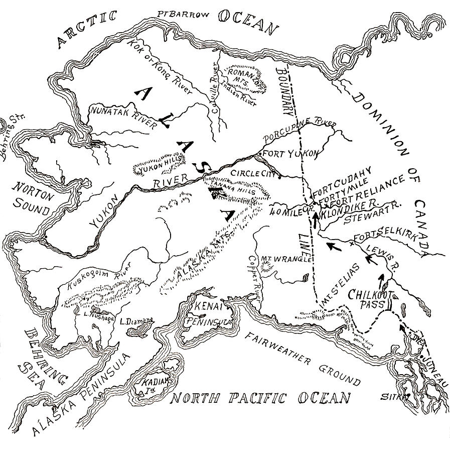 897x900 Map Of The Klondike Gold Diggings And Vicinity, Alaska Drawing By