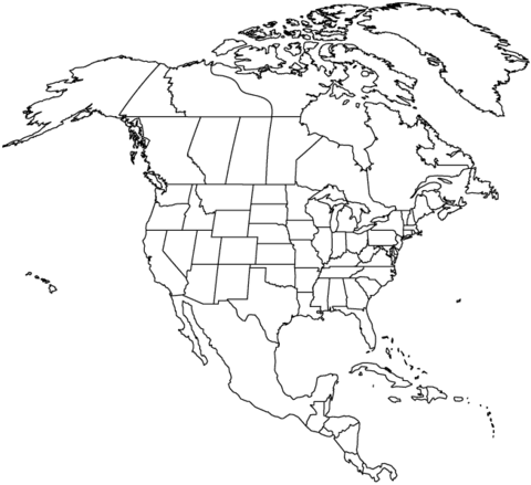 480x439 Outline Map Of North America With Countries Coloring Page Free