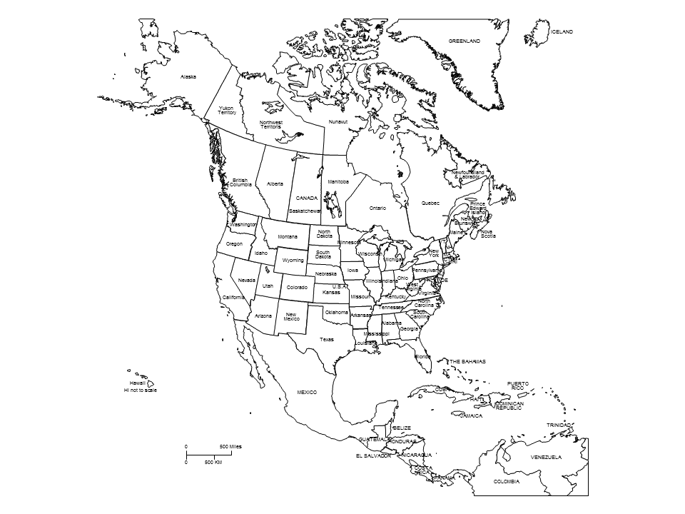 960x720 black white map north america