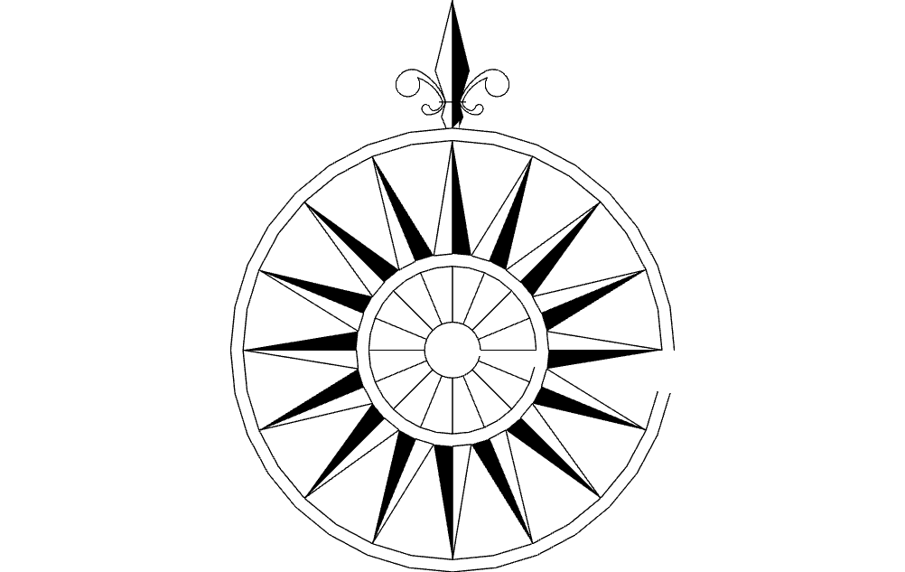 1002x633 North Arrow Compass Raised Dxf File Free Download