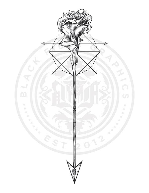 600x776 Rose Amp Arrow Tattoo Design I Did For Giz Khalifaa Can'T Wait