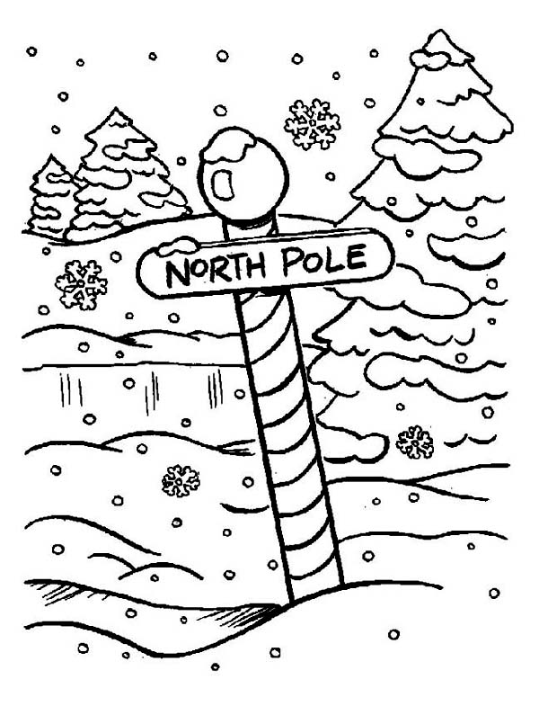 600x785 North Pole Sign On Heavy Winter Season Snow Coloring Page