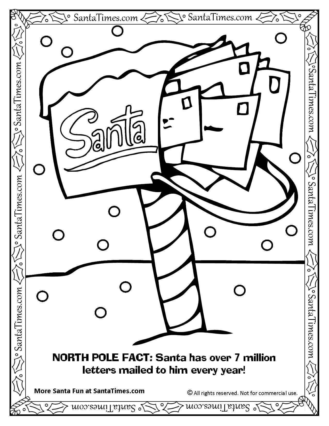 1275x1650 Santa's North Pole Mailbox Coloring Page Printout. More Fun