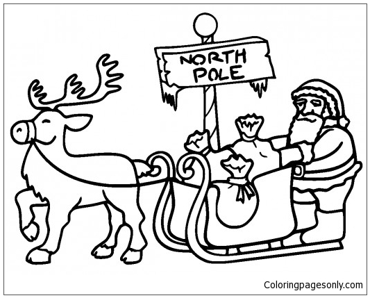 533x429 Santa In Sleigh Pulled In North Pole Coloring Page