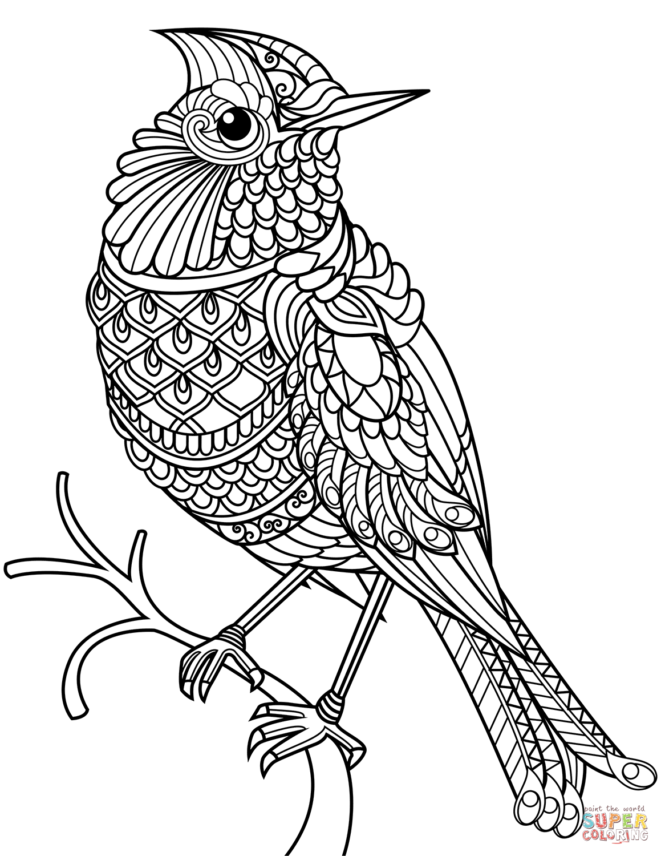 1159x1500 Northern Cardinal Zentangle Coloring Page Free Printable