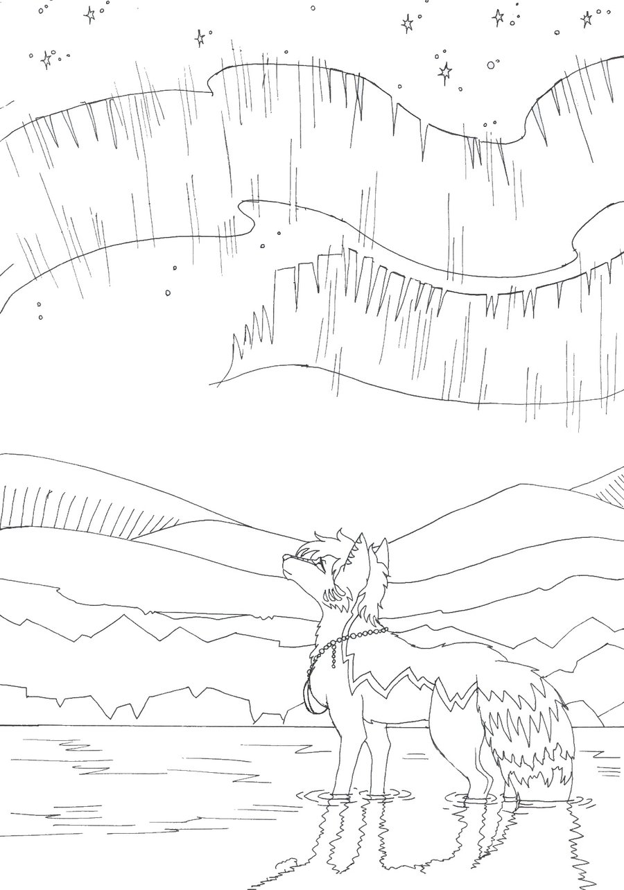 900x1284 Northern Lights Lineart By Vampiralady