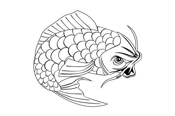 580x386 Koi Carp Fish Jumping Line Drawing @photoshoplady Illustrations
