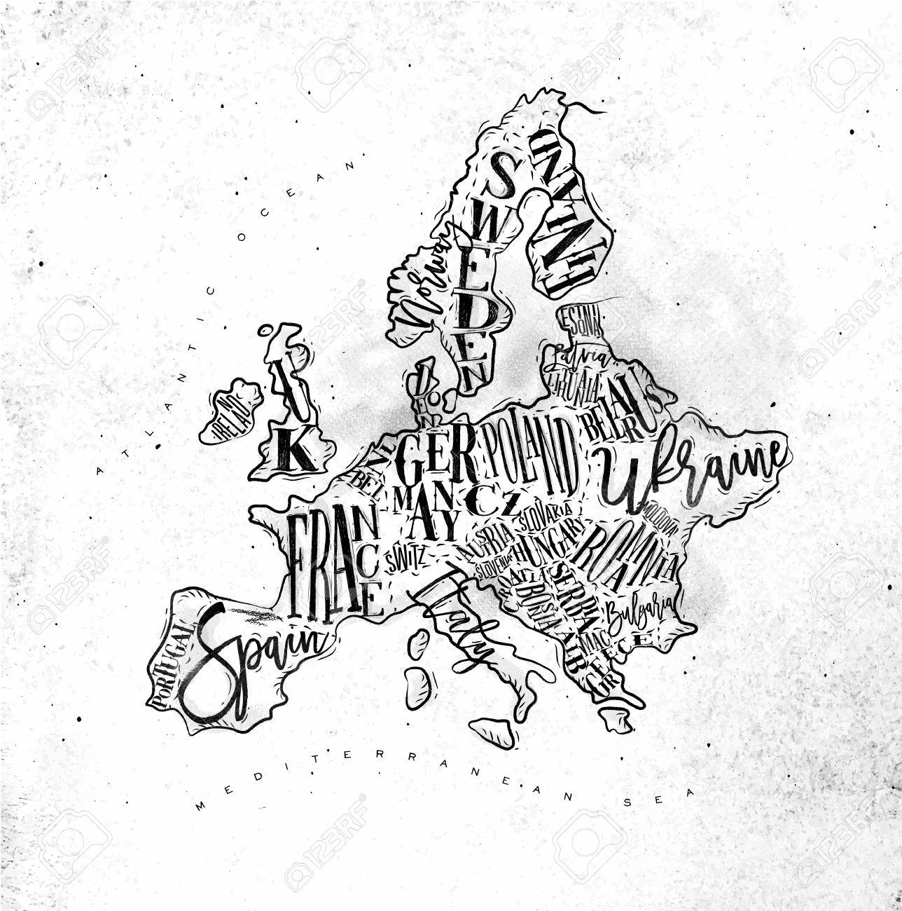 1288x1300 Vintage Europe Map With Countries Inscription Uk, Ireland, Norway