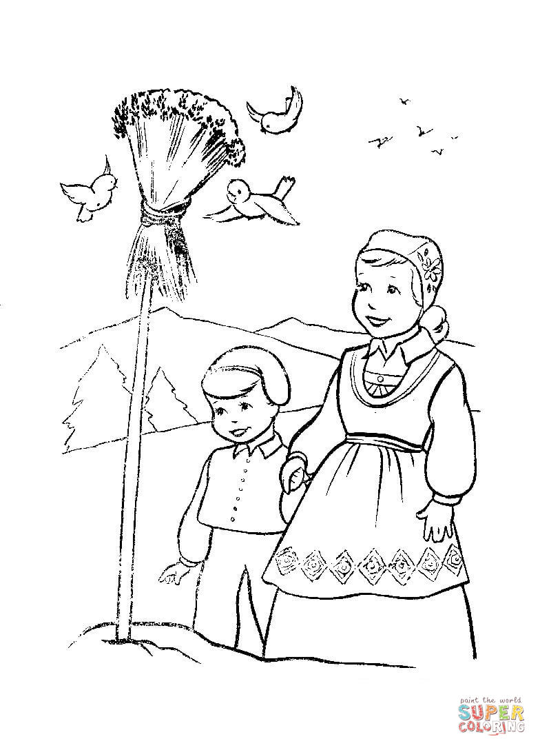 784x1088 Christmas In Norway Coloring Page Free Printable Coloring Pages