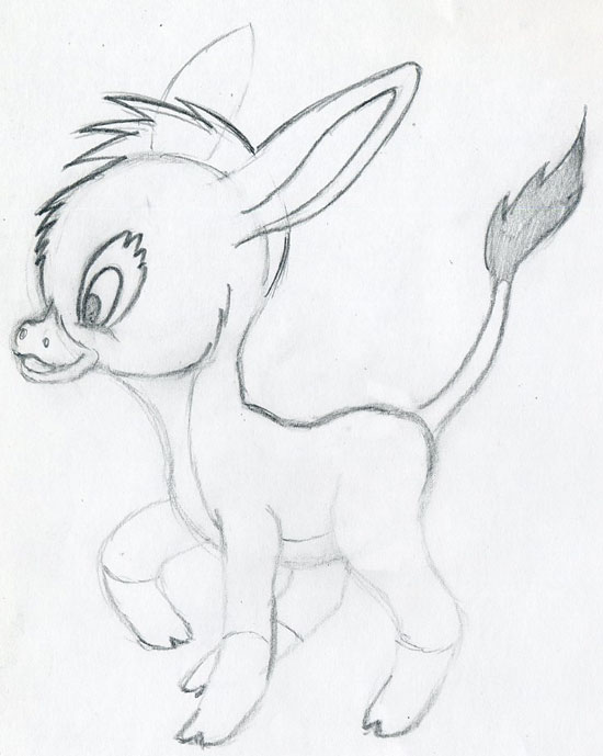 550x689 Let's Draw Cartoon Donkey Cute And Lovely. Few Easy Steps.