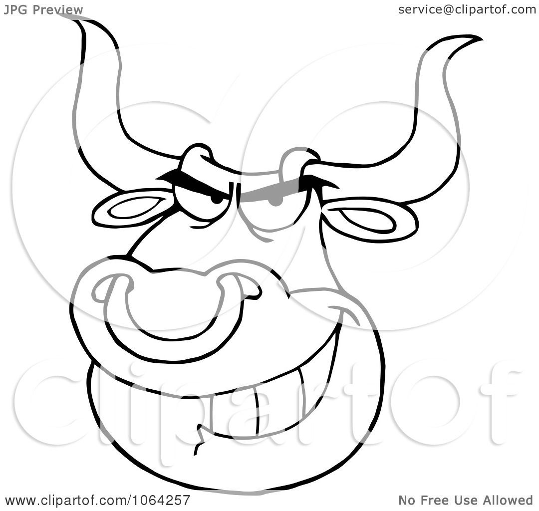 1080x1024 Clipart Outlined Bull Face With Nose Ring